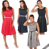 Womens Vintage 50s Pin Up Polka Dot Dress Flared Midi Swing Skater Skirt Party
