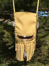 Native American Indian Beaded BIG Pouch Bag w/ Fringe Brass Beads Horsehair