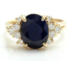 4.89 Carat Natural Sapphire and Diamonds in 14K Solid Yellow Gold Women's Ring