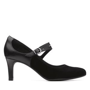 BNIB Clarks Ladies Dancer Reece Black Suede Combo Mary Jane Heeled Shoes
