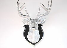 Faux Taxidermy Chrome Deer Head Wall Mount - Black and Chrome Shield Mount DS131