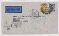 INDIA Airmail Cover to CZECH o SLOVAKIA of 1937 Via ATHENS GREECE