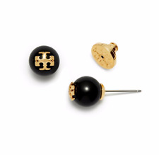 Tory Burch Evie Black Crystal Pearl Gold Logo Stud Earrings on Card w/ Gift Box