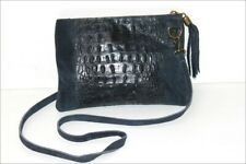 GENUINE LEATHER Sac Besace Cuir Grainé Souple Bleu Nuit TBE