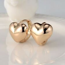 Women's Heart Hoop Huggie Earrings 18k Yellow Gold Filled Fashion Jewelry