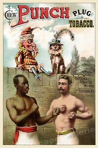 1886 Punch Plug Tobacco Vintage Style Advertising Boxing Poster - 16x24