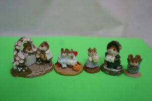 Wee Forest Folk Lot of 5 Courting Halloween Angel Christmas AS IS Mice Mouse