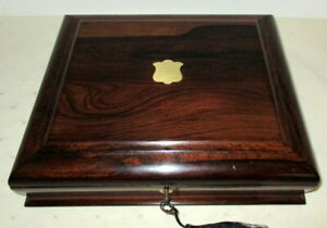 HANDSOME VICTORIAN ROSEWOOD & BRASS COLLECTORS/TRINKET BOX with key