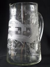 Hand-Engraved Glass Pitcher, showing the Swing Bridge over the Tyne, Dated 1881