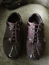 COACH KELLEE SATIN QUILTED   PATENT LEATHER BROWN ATHLETIC SHOE SZ 8M EUC