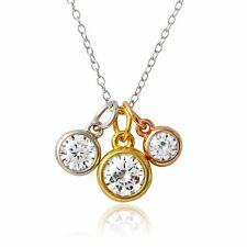 Sterling Silver Necklace w/ Rose Gold, Gold & Rhodium Plated 3 CZ Stones Pendant