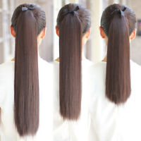 "16""-30"" Ribbon Ponytail Clip in 100% Human Hair Extensions Strap-On Pony Tail"