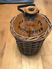 Ceramic and Wicker Antique Wine Bottle with Metal Handle