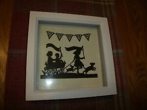 """8"""" White Deep Box Frame With Handmade Die Cut Pictures (One Frame Only)"""
