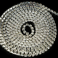 9.8M Rhinestone Chain Crystal Glass Gem Silver Cup Trim Ribbon Sparkle Diamante
