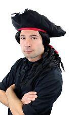 Carnaval Pirata Conjunto: Sombrero Barba & Largo Negro Peluca Trenzado Trenzas