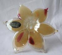 Genuine Italian Art Blown Glass Flower Murano Amber Pink Made in Italy No 517