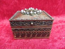 Very Beautiful Covered Dish, Bronze with Pearls,