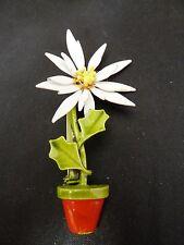 Enamel Flower in a Pot Pin Brooch