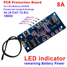 LiFePO4 8A Battery PCM Protection Board BMS with Capacity Display 4S 12.8V PCB