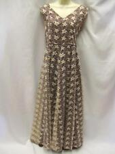 1950s Evening Gown Long Dress Vintage Size 12 ~ Brown and cream floral lace