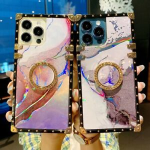 Bling Marble Watercolor Square Phone Case For OPPO Reno 4 5 6 A15 A53 C20 Realme