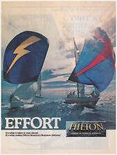 "Original 1985 Hilton ""America's Business Address"" Sail Boats Vintage Print Ad"