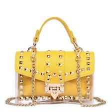 Women Leather Handbag Rivets Shoulder Chain Bag 2-IN-1 Transparent PVC Clear Bag