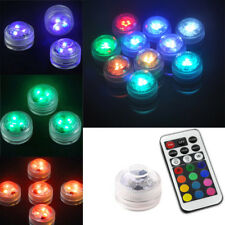 10pcs RGB LED Tea Light Submersible Party Wedding Vase Underwater Remote Control