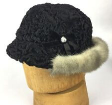 HAT womens vintage 1940s black curly lamb & Mink Tilt size S/M