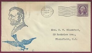 Abraham Lincoln Postal Cover, February 12, 1934, Hudson Terminal Annex, NY