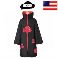 US! Naruto Akatsuki Uchiha Itachi Robe Cloak Coat Headband Cosplay Costume Prop