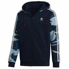 Adidas Mens Camouflage Hoodie Full Zip Sweatshirt Navy DX3661
