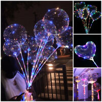 "20"" LED Lights BoBo Transparent Balloons Colorful Luminous with Stick Christmas"