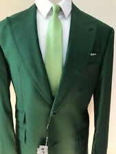 Emerald 3 piece shark skin green Ariston wool suit with double breasted vest