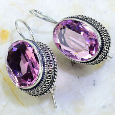 "PINK TOPAZ VINTAGE STYLE EARRINGS 1 1/2""; X51348"