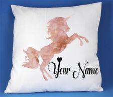 Personalised Rose Gold Unicorn Girls White silk/satin Cushion Cover Bedroom Gift