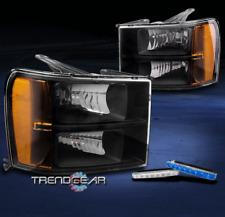 FOR 2007-2013 GMC SIERRA HD DENALI AMBER BLACK HEADLIGHT LAMP +BLUE DRL LED KIT