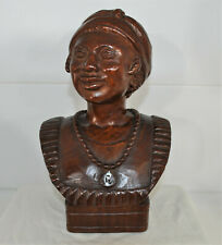 A. Lafontant Wood Portrait Bust Haitian Vintage Hand Carved Signed by Artist