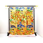 Japanese Kimono Robe Dress Cardigan Jacket Uchikake Silk Gold Pine Luxury N751