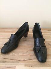 Vintage Shoes 9 M Pumps Orthopedic Tassle Loafer Black 1930's deco 1940's