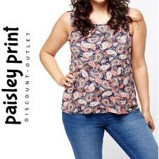 Ladies Ex-High Street Blue Paisley Print Swing Smart Vest Top 12 14 16 18 20 NEW