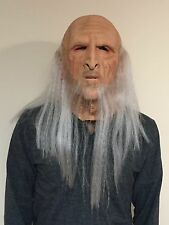 Deluxe Merlin Mask Wizard Full Overhead Long White Hair Latex Old Man Skin Adult