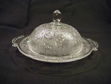 "Anchor Hocking Sandwich Crystal Round Covered Butter dish, 7.5"", 1940-1960's"