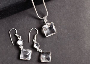 925 Sterling Silver Topaz Gemstone Handmade Necklace Earrings Her Gift SET-1011