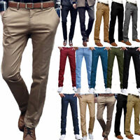 Mens Formal Business Office Casual Dress Pants Straight Leg Chinos Long Trousers