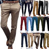 Mens Formal Business Fit Chino Pants Straight Leg Work Business Slacks Trousers