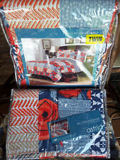 New Twin Quilt & 2 Shams~Astrid~Coral & Red Roses~Tan & Blue Patchwork designs