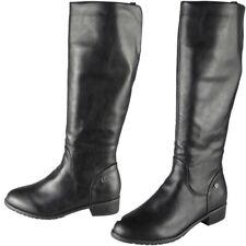 New Ladies Winter  Rider Biker Mid Calf Boots Long Zip Low Heel Shoes