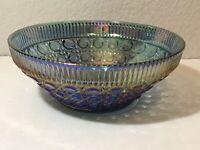 Vintage Indiana Blue Carnival Windsor or Cane & Button Large Serving Bowl 10.5